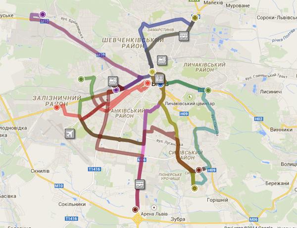 Схема маршрутів, на яких